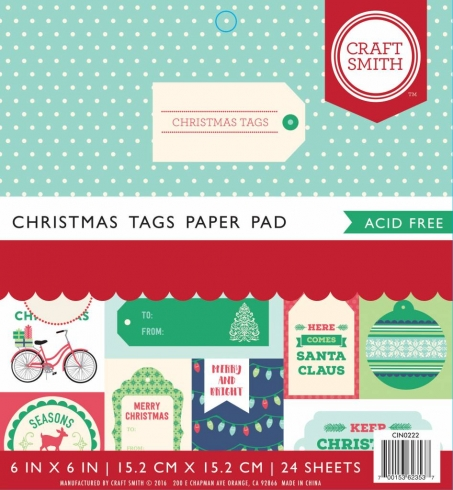 "Craft Smith ""Christmas Tags"" 6x6"" Paper Pad"