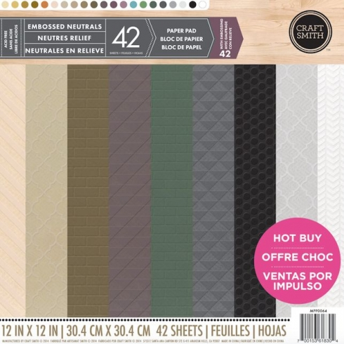 "Craft Smith ""Embossed Neutrals"" 12x12"" Paper Pad"