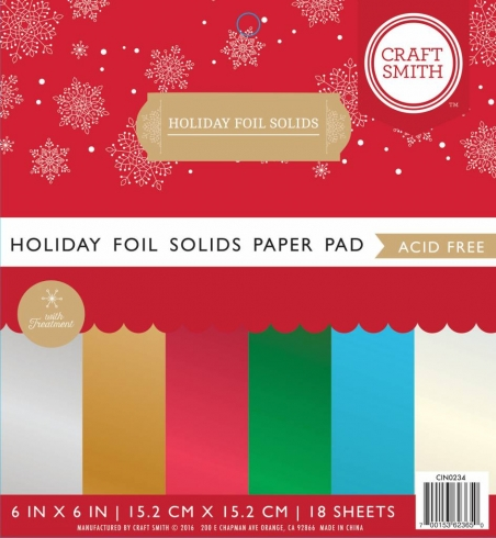 "Craft Smith ""Holiday Foil Solids"" 6x6"" Paper Pad"