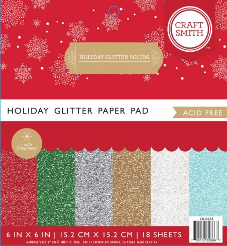 "Craft Smith ""Holiday Glitter Solids"" 6x6"" Paper Pad"