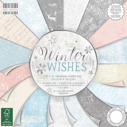 "First Edition Paper Pad ""Winter Wishes"" 12""x12"""