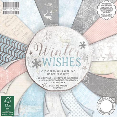 "First Edition Paper Pad ""Winter Wishes"" 6""x6"""