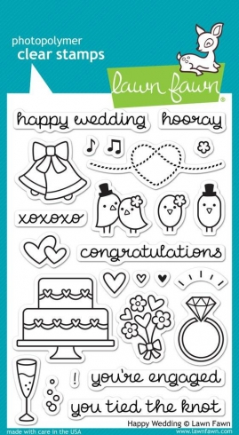 "Lawn Fawn Stempelset ""Happy Wedding"" Clear Stamp"