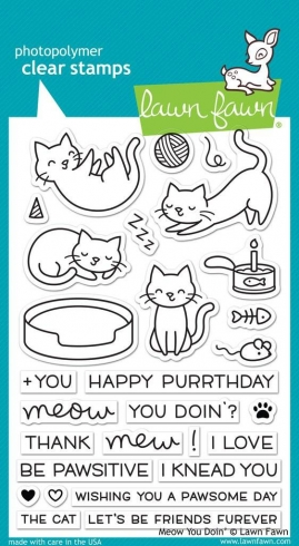 "Lawn Fawn Stempelset ""Meow You Doin'"" Clear Stamp"