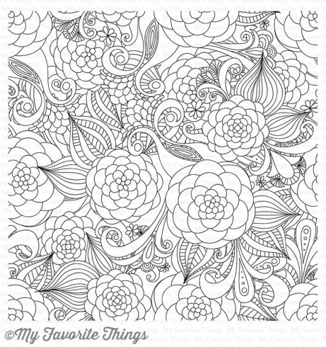 "My Favorite Things ""Floral Fantasy"" 6x6"" Background Cling Stamp"