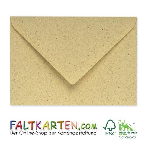 Briefumschläge - Briefhüllen in graspapier, DIN A5 120g/m² oF, Nassklebung
